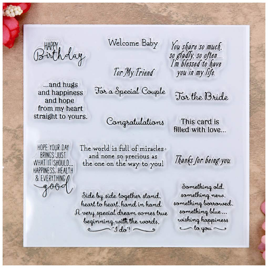 Kwan Crafts Words Happy Birhtday Welcome Baby Congratulations Clear Stamps for Card Making Decoration and DIY Scrapbooking