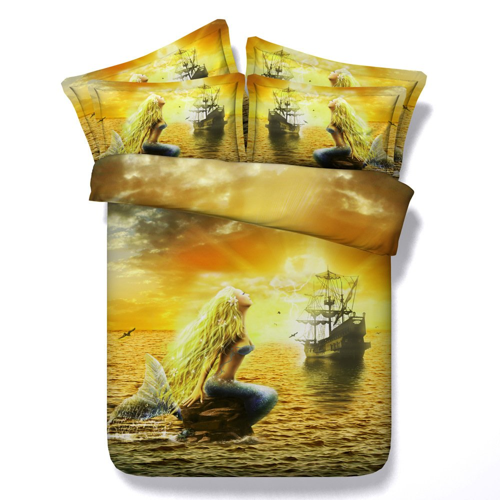 EsyDream 3D Oil Painting Golden hair Mermaid Princess Bedding Sets Twin Size 4 Pieces,100% Cotton Mermaid Girls Gift Duvet Bedspreads Sets,Full/Queen Size (4PC/Set)