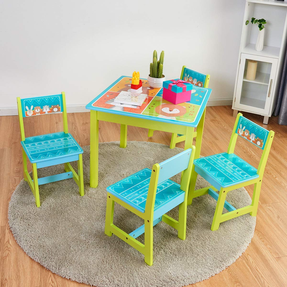 BABY JOY Kids Table and 4 Chairs Set, Wooden MDF Desk for Studying Playing Dining Indoors & Outdoors Activity, Toddler Baby Gift Desk Furniture Cartoon Pattern (Table and 4 Chairs) by BABY JOY (Image #1)