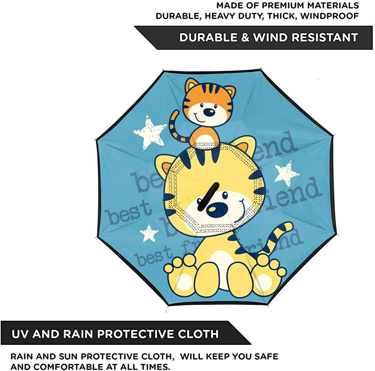 Little Kitten Best Friend Cartoon Vector Image Reverse Umbrella Double Layer Inverted Umbrellas For Car Rain Outdoor With C-Shaped Handle Customized