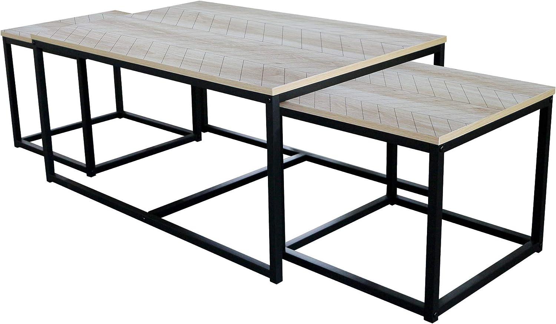 B 90 Melanin Sonoma Eiche T 60 cm CAVADORE Nele Tavolino Basso H 42
