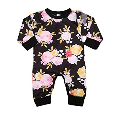 061f08ddfa9 Amazon.com  Moore Newborn Baby Girl Floral Ruffled Romper Jumpsuit Long  Sleeve Bodysuit 0-24M  Clothing