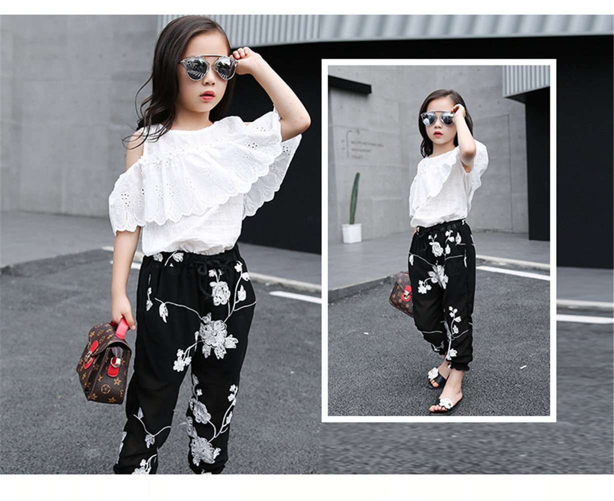 FTSUCQ Girls Pullover Off-Shoulder Lace Shirt Top + Floral Cropped Trousers,140 by FTSUCQ (Image #2)