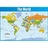 Geography continents and oceans learning chart poster amazon world map poster geography poster for students teachers large map of the world gumiabroncs Image collections