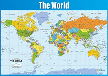 World Map Poster Geography Poster For Students Teachers Large