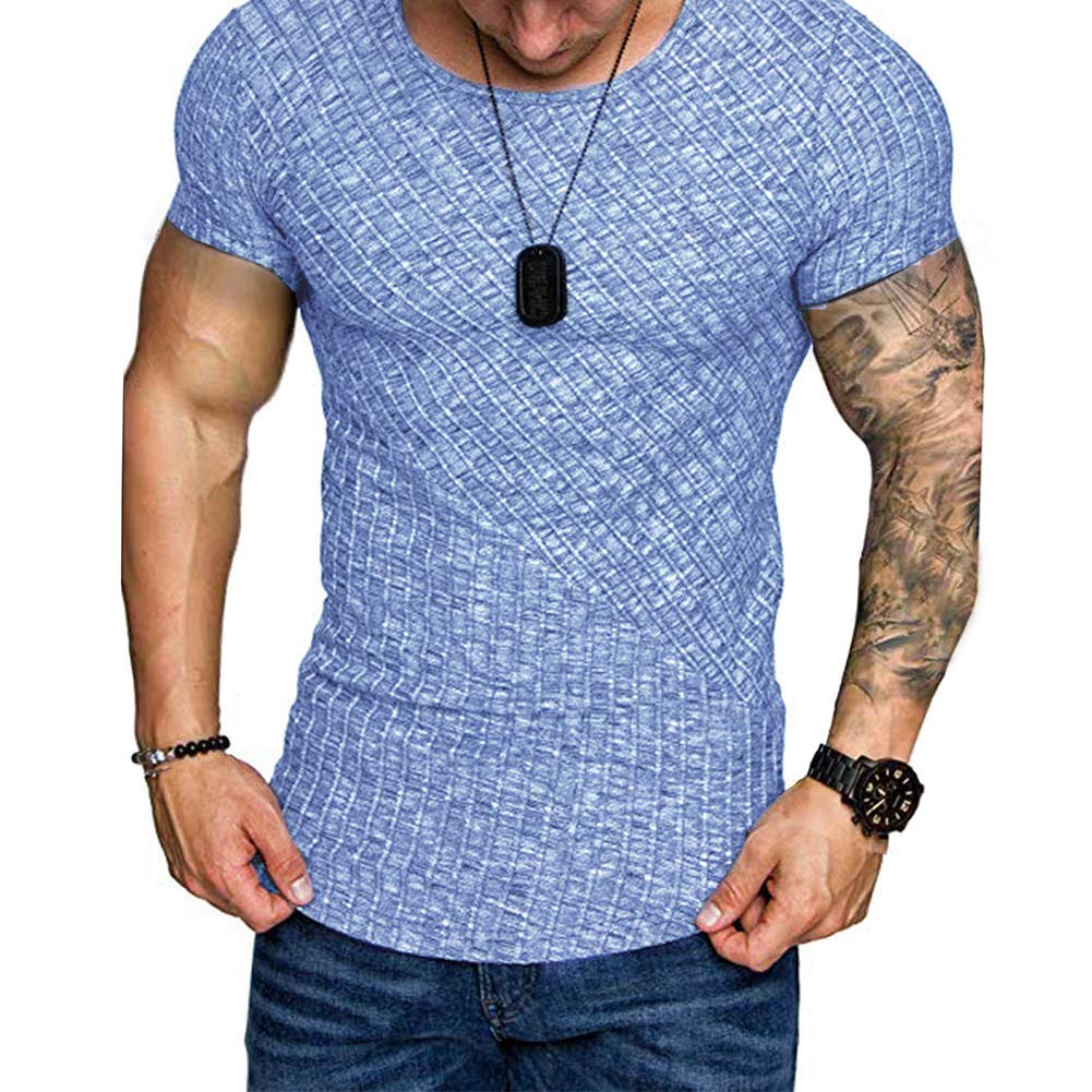 Softmusic Casual Men T-Shirt,Solid Color T-Shirt Ribbed O-Neck Short Sleeve Slim Bottoming Top Blue XXL