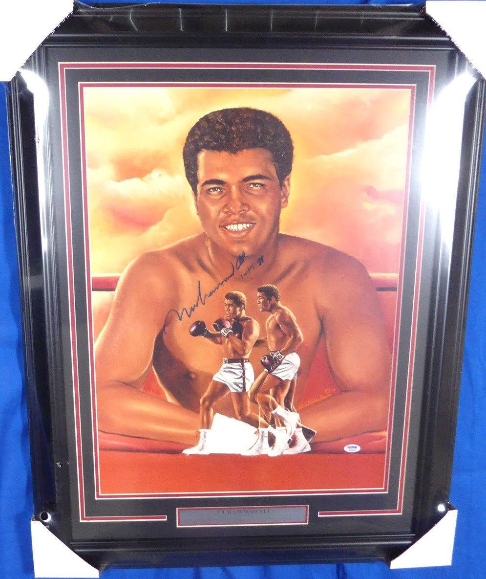 "Muhammad Ali Autographed Framed 18x24 Lithograph Photo""1 17 88"" #B92339 PSA/DNA Certified Autographed Boxing Art"
