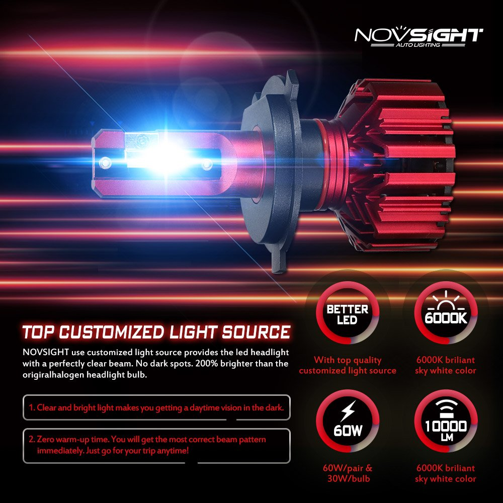 Novsight auto lampadine LED One pair 10000 Lumen H1 H4 H7 prese Fit per camion ventola silenziosa interno impermeabile IP68 2 anni di garanzia