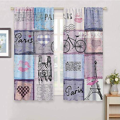 Decor Living Room Curtains 2 Panel Sets Apartment Decor Grunge Textured Retro Collage of Paris
