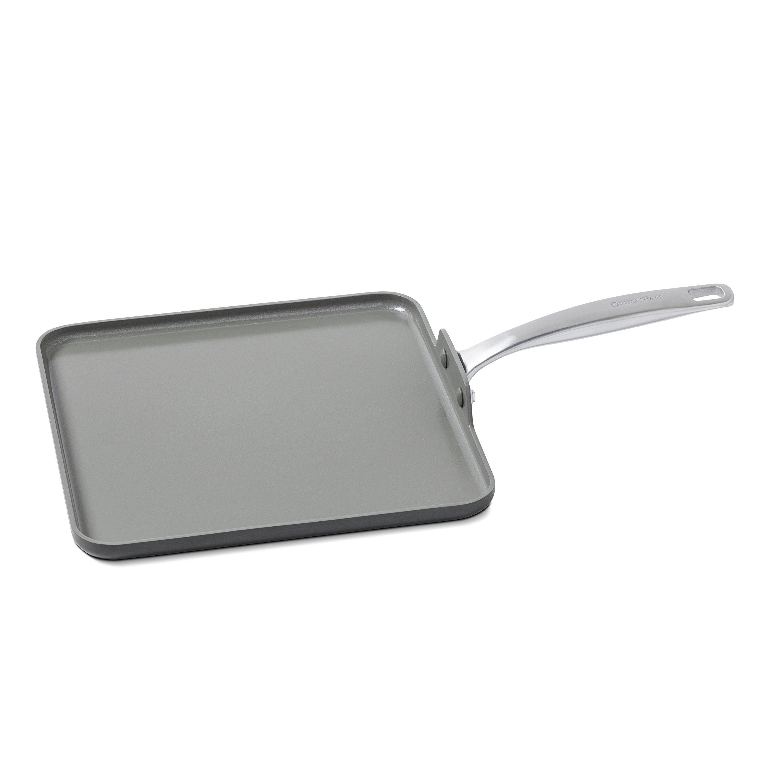 GreenPan Chatham 11'' Ceramic Non-Stick Square Griddle, Grey