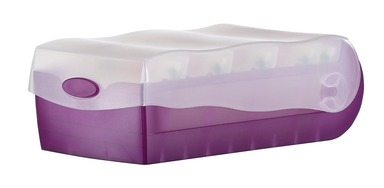 Han Croco 998-673 - Fichero para tarjetas de aprendizaje (tamaño A8, capacidad para 500 tarjetas, con 5 separadores de apoyo), color morado y translúcido: ...