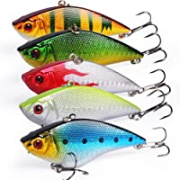 Sougayilang Fishing Lures Large Hard Bait Minnow VIB Lure with Treble Hook Life-like Swimbait Fishing Bait 3D Fishing Eyes Popper Crankbait Vibe Sinking Lure for Bass Trout Walleye Redfish
