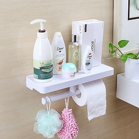 yyhome baño estante sin taladro/uñas, doble portarrollos de papel higiénico toalla percha con