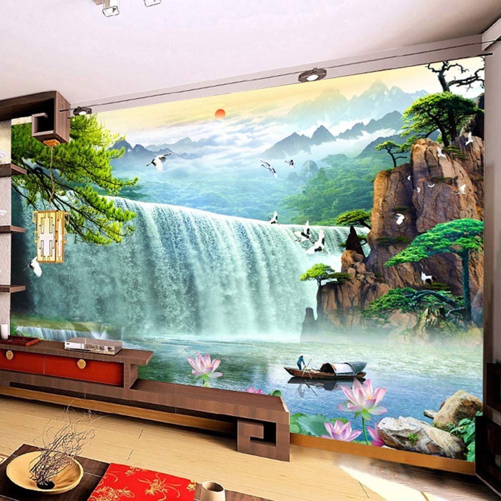 Pbldb 3D Waterfalls Nature Scenery Mural Wallpaper Living Room Tv Sofa Study Background Wall Paper Home Decor-350X250Cm by Pbldb (Image #3)
