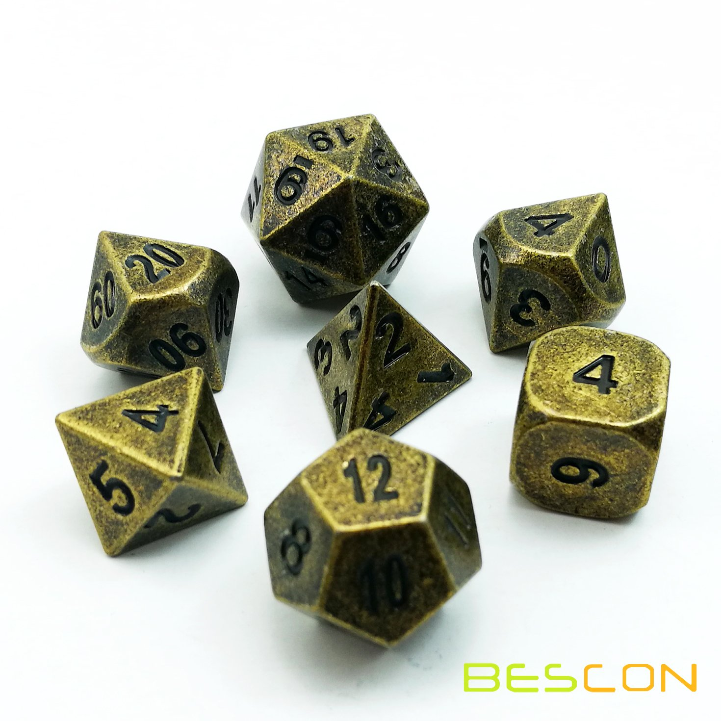 BESCON DICE Bescon Ancient Brass Solid Metal Polyhedral D&D Dice Set of 7 Antique Copper Metal RPG Role Playing Game Dice 7pcs Set