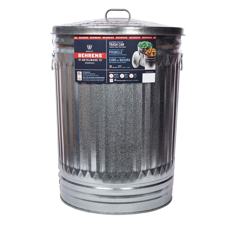 Behrens Galvanized Steel Trash Can, 31-Gallon