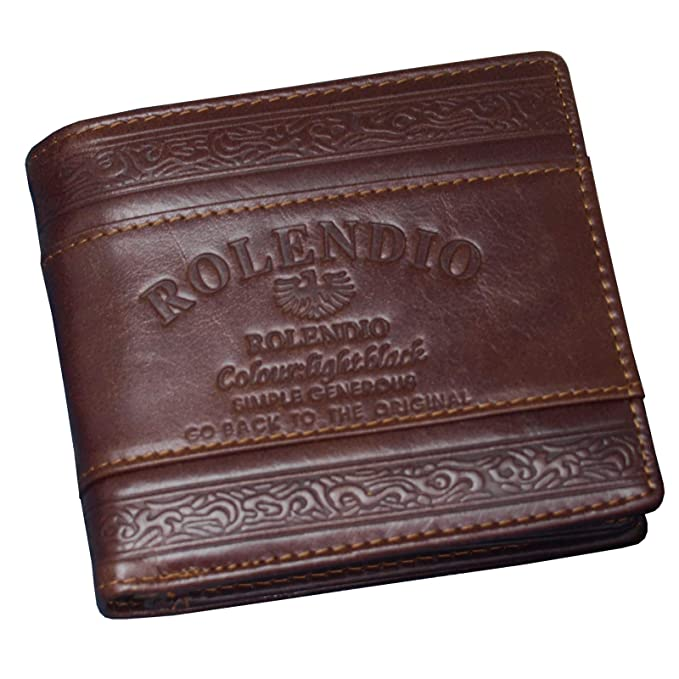 daa9b651909c Men s Leather Wallet Credit Card Holders ID Photo Holder Vintage Purse  (Brown J2121)