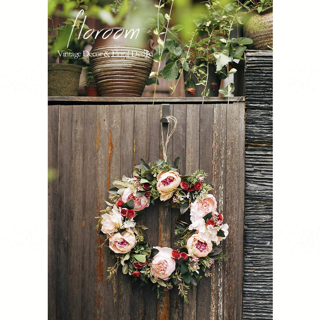 Floral Wreath, Door Wreath, Artificial Peony Wreath for Front Door 15''-16'', Wall Decor by floroom
