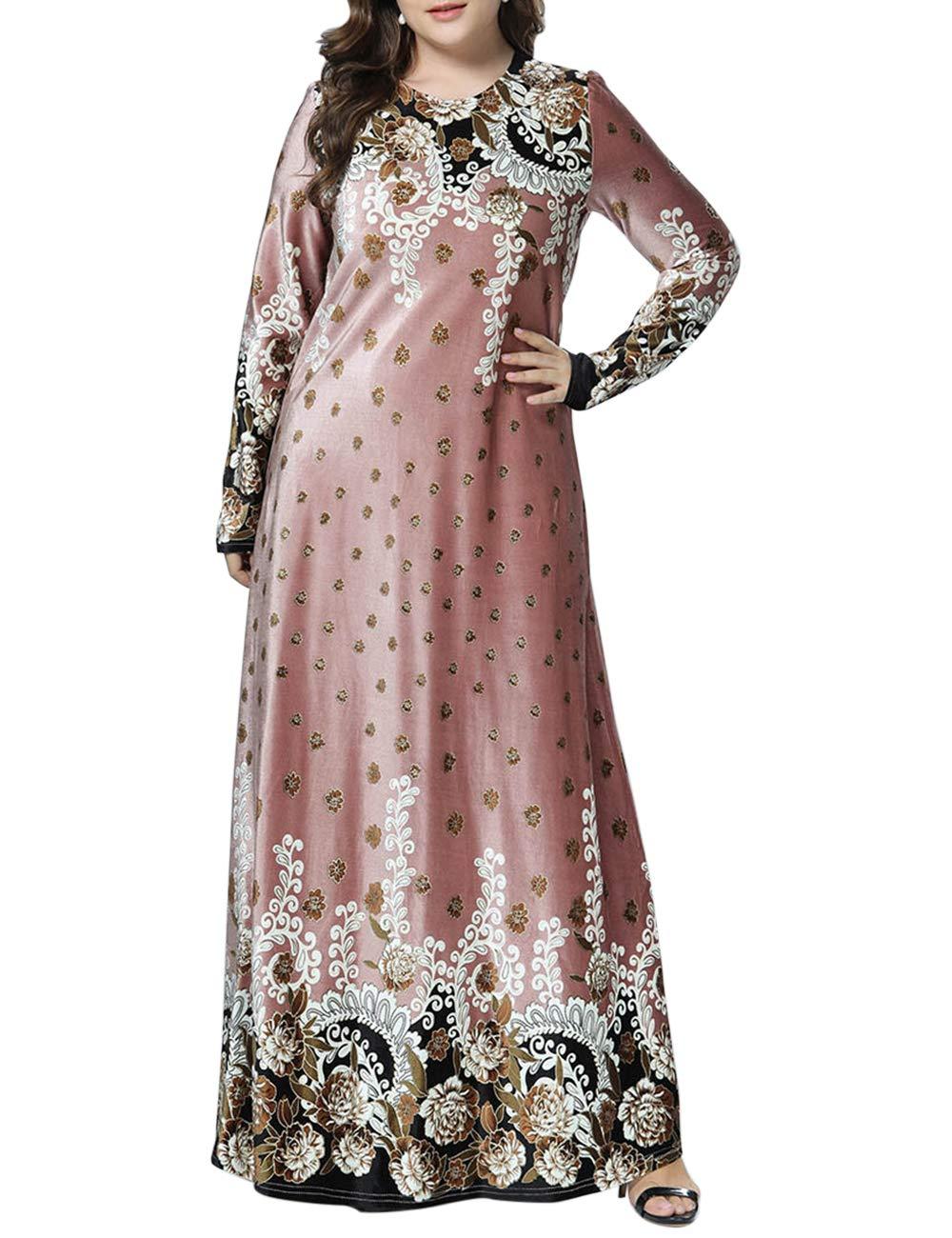 Dames Manche Longue en Vrac D/écontract/ée Gown besbomig Caftan Dubai Abaya Les Musulmans des Robes Marocain Dress Floral Maxi Robe F/ête Robes