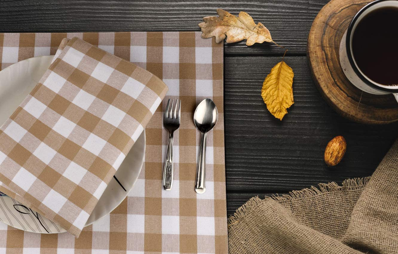 Urban Villa Dinner Napkins, Everyday Use, Premium Quality, 100% Cotton, Set of 12, Size 20X20 Inch, Taupe/White Oversized Cloth Napkins with Mitered Corners, Ultra Soft, Durable Hotel Quality: Kitchen & Dining