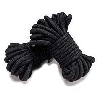 Soft Cotton Rope 32 feet/10m 8mm (1/3 inch) Diameter Twisted Braided Multi-Function Natural Utility Durable Long (2 Pack of Black)