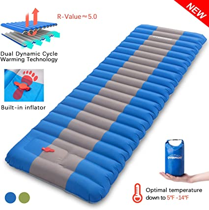 Overmont Sleeping Pad Inflatable Extra Thickness Camping Tent Mattress Pad Waterproof for Sleeping Comfortable Compact Air Mat for Backpacking Travel ...