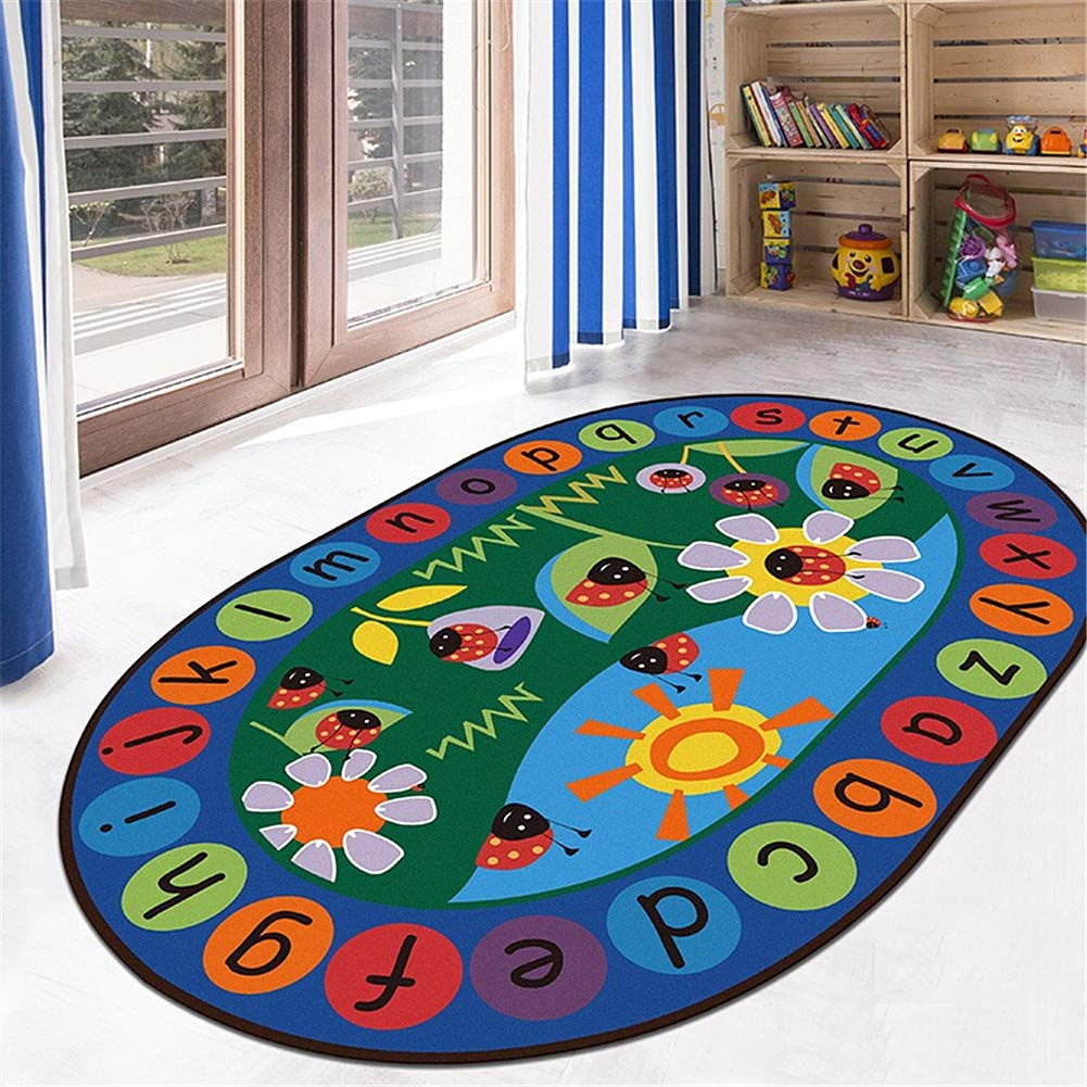 LISIBOOO ABC Ladybird Sunflower Alphabet Kids Rug,Non-Slip Vibrant Oval Play Mat,Multicolor Child Large Carpet,for Boy Girl Baby Playroom Bedroom Study Room Nursery Living Room (4'7''x6'6'',Ladybird)