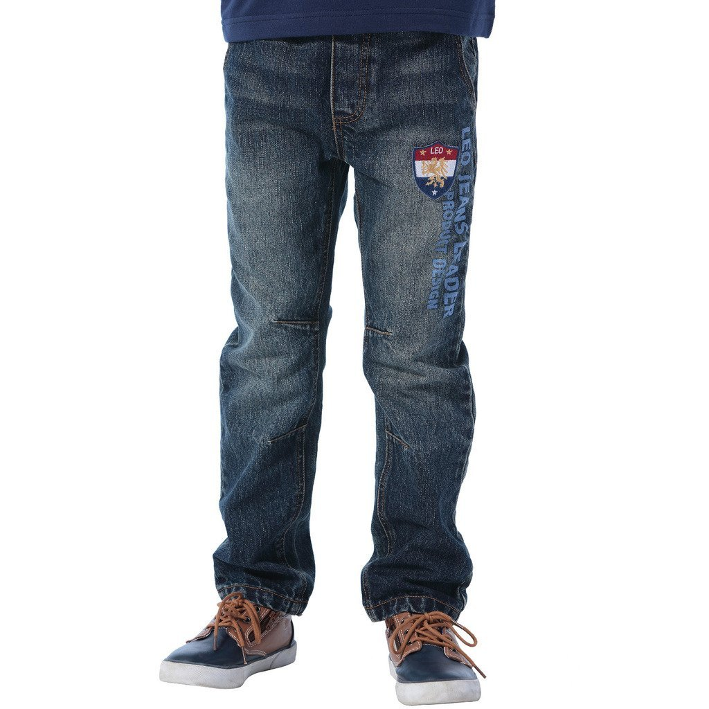 Leo&Lily Big Boys' Kids' Denim Regular Fit Waist Jeans Pants Size (Blue, 16)