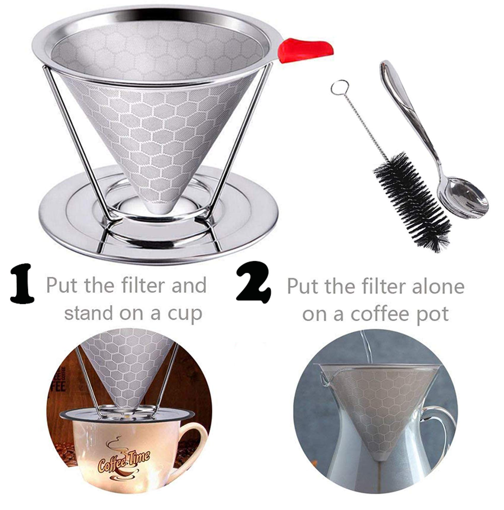metal Stainless Steel Coffee Filter, Reusable Pour Over Coffee Dripper Cone , cone coffee filters With Non-slip Cup Stand and Brush, Paperless. Honeycomb Design