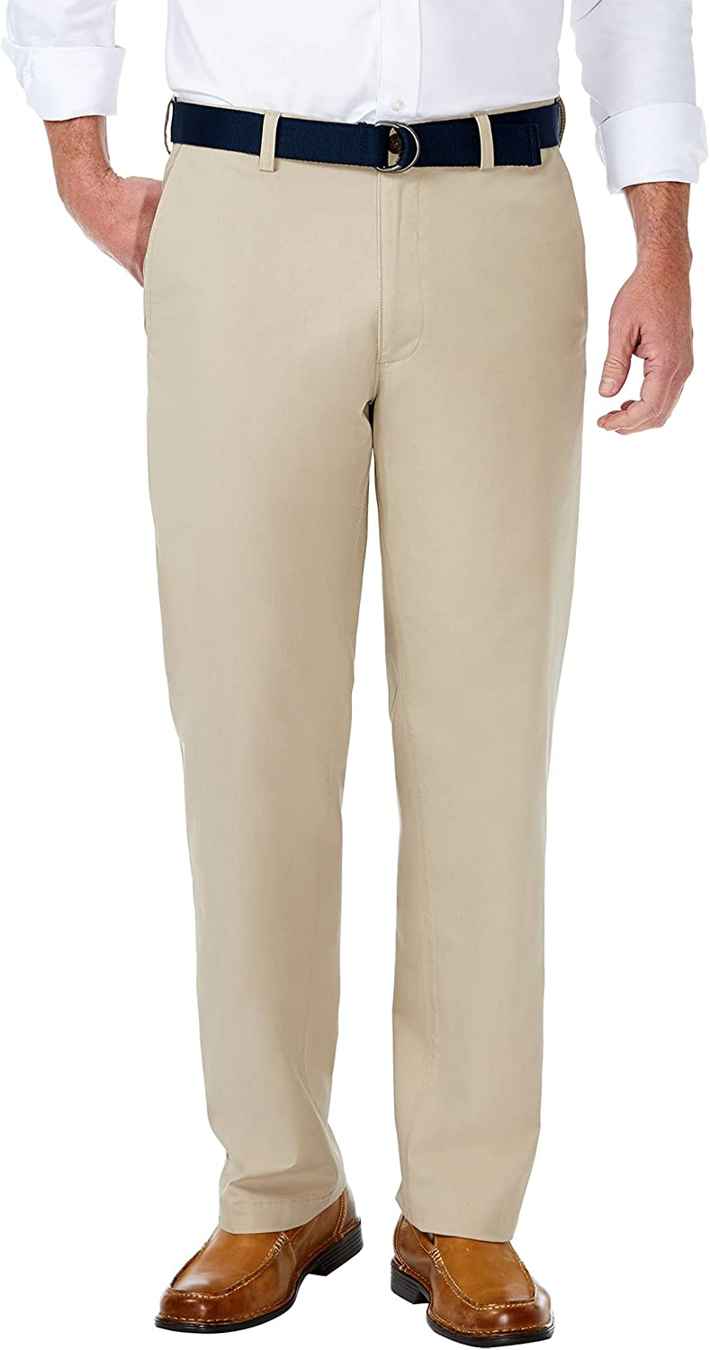 Haggar Mens Stretch Solid Belted Poplin Classic Fit Flat Front Pant