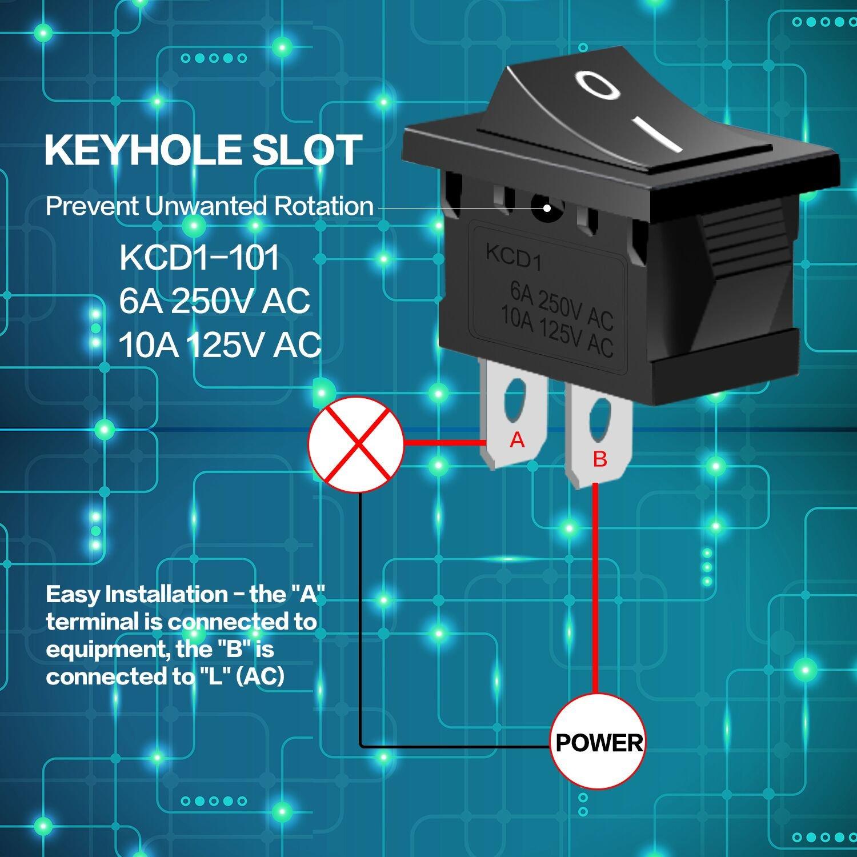 Philonext 20 Pcs Black Boat Rocker Switch On/Off Button SPST 2-Pin ...