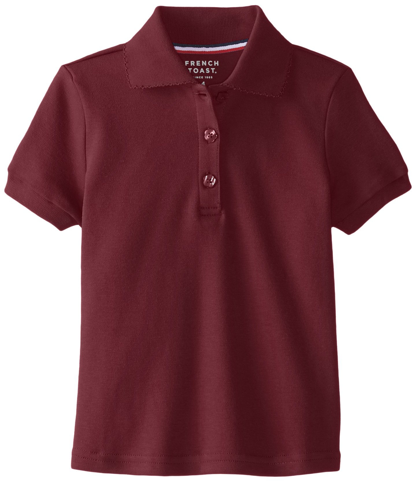 French Toast Little Girls' Short Sleeve Interlock Polo With Picot Collar, Burgundy, 6X
