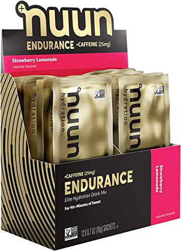 Nuun Endurance Caffeine Workout Support Strawberry Lemonade Electrolytes Carbohydrates 12 Servings