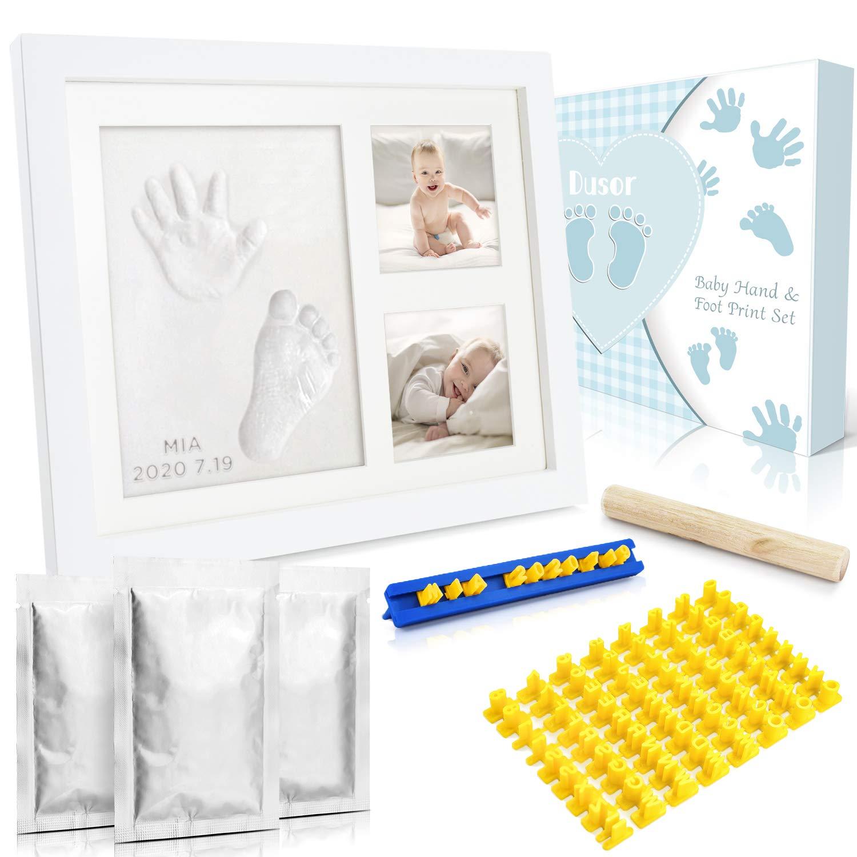 Zum Aufh/ängen oder stehend Baby Hand Gipsabdruck Set Holz Bilderrahmen Ton wei/ß Sch/öne Erinnerung als Fotorahmen Collage oder Babyparty Geschenk