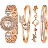 Xinge Women's Rose Gold Tone Crystal-Accented Bangle Watch and Bracelets Sets XG593R3257