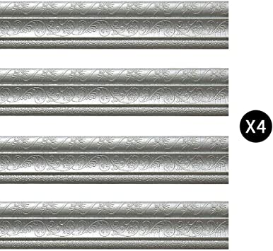 Silver Moyishi 5 Meters Royal Peony 3D Peel and Stick Waterproof Wall Border Easy to Apply