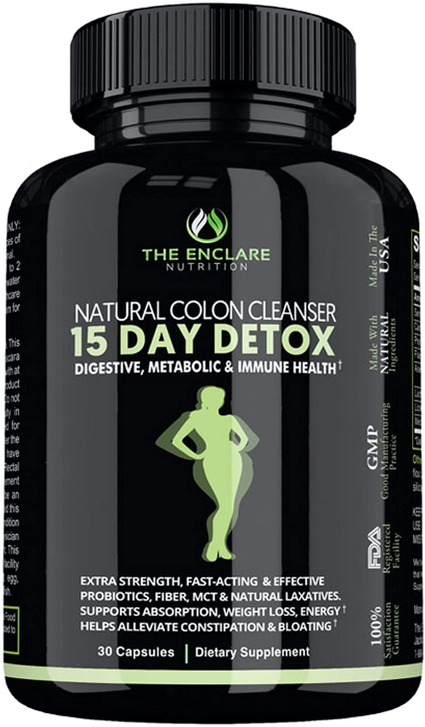 Amazon Com Detox Colon Cleanse For Weight Loss 15 Day Fast Acting Detox Pills Extra Strength With Natural Laxatives Probiotic Fiber Constipation Relief Reduce Bloating Boost Energy Focus Immune Support Health Personal Care