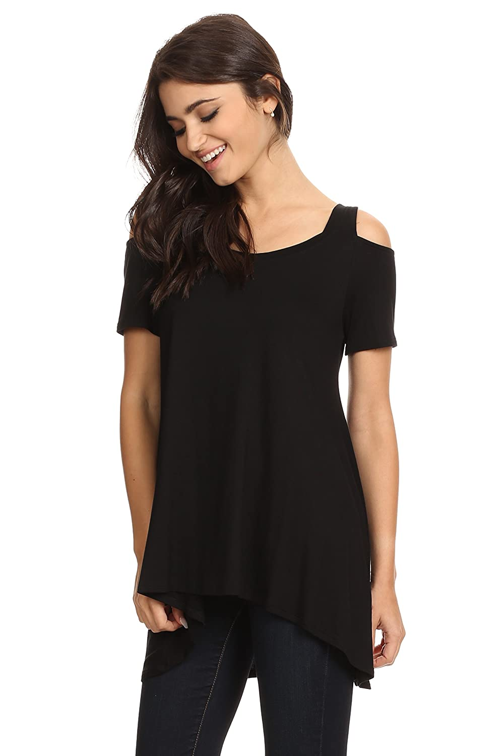 a841028d29d DETAILS: Loose fit jersey knit top with hi-low hem and short length sleeves  cold shoulder detail. This cute top is best worn with your favorite pair of  ...