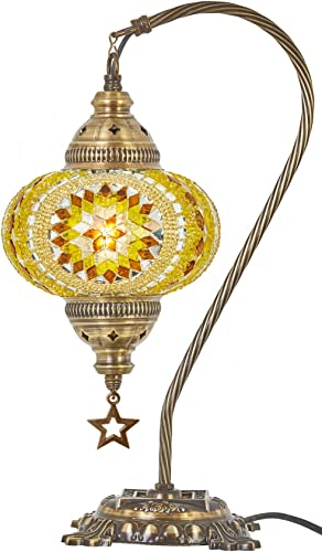 Lavish Home 72-TIFF-10 Bankers Lamp Tiffany Table or Desk Light Stained Glass Shade LED Bulb Included Vintage Look Mission Style Accent Decor, Multi-Colored