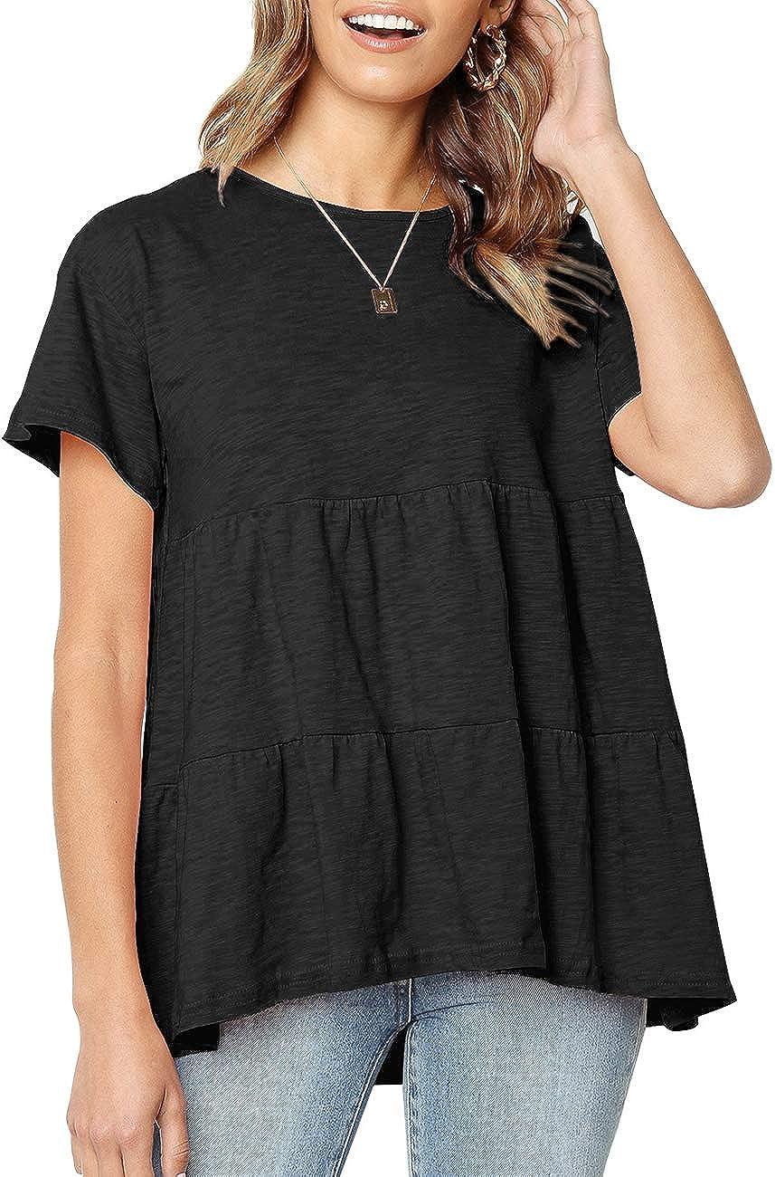 Defal Women's Summer Short Sleeve Loose T Shirt High Low Hem Babydoll Peplum Tops