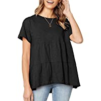 Women's Summer Short Sleeve Loose T Shirt High Low Hem Babydoll Peplum Tops