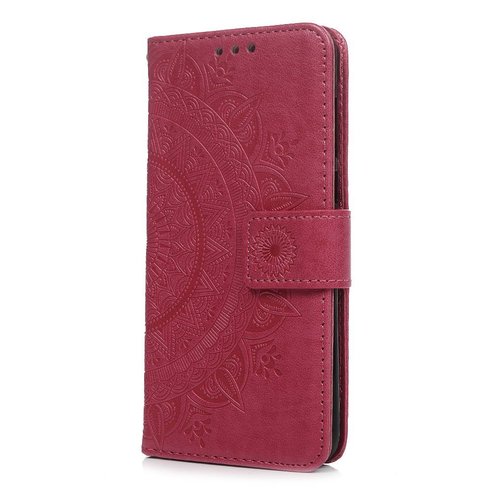 Huawei P Smart Case, Enjoy 7S Cover Premium PU Leather Flip Notebook Wallet Case Embossed Totem with Magnetic Stand Card Holder Slot Folio Protective Skin Cover for Huawei P Smart/Enjoy 7S Gray Tophung