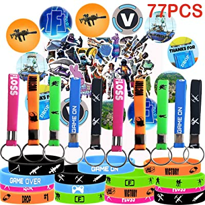 Game Party Supplies, 77 Pack Gaming Set Party Favors - 15 Pack Bracelet, 10 Pack Keychain, 12 Pack Button Pins, Set of 40 Stickers for Kids: Sports & Outdoors