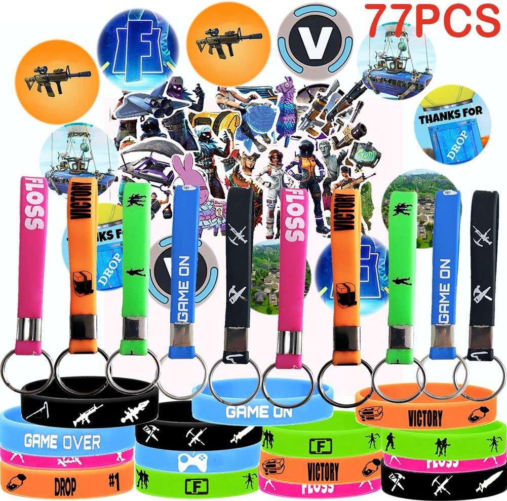 Game Party Supplies, 77 Pack Gaming Set Party Favors - 15 Pack Bracelet, 10 Pack Keychain, 12 Pack Button Pins, Set of 40 Stickers for Kids