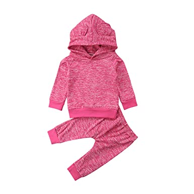 8eb49420e Newborn Kids Baby Boys Girls Clothes Long Sleeve Pullover Hooded Tops Solid  Pants 2pc Cotton Autumn