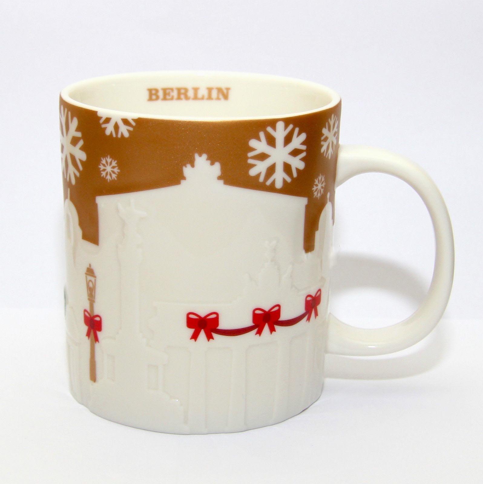 Starbucks 2014 Berlin Christmas Relief Mug Gold Limited Edition
