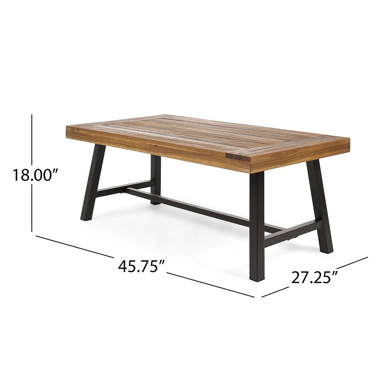 Amazon com great deal furniture indoor industrial rustic farmhouse solid wood coffee table sandblast finish kitchen dining