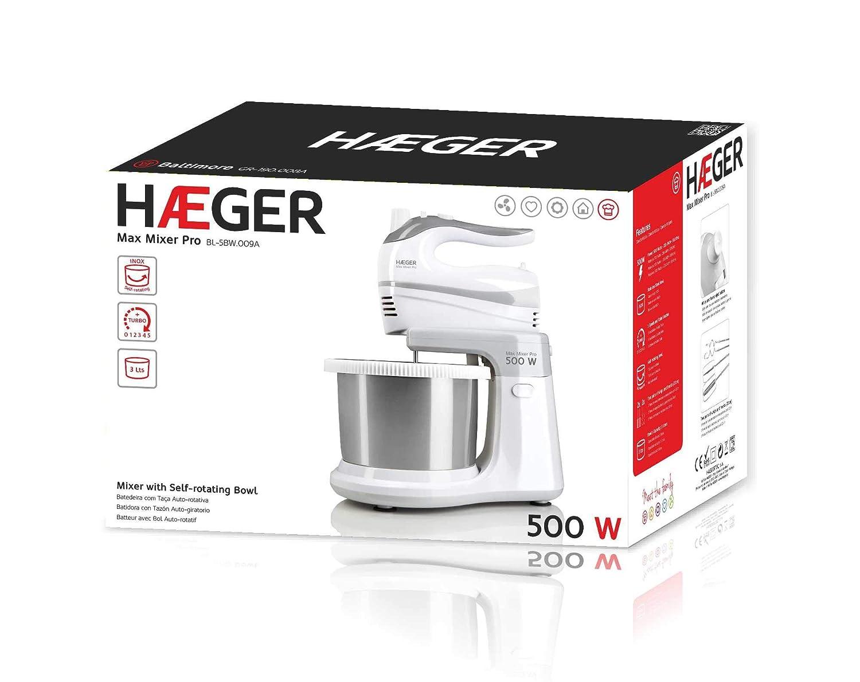 HAEGER MAX Mixer Pro - Batidora Amasadora con Bol, 500W, Bol Auto-Giratorio INOX, 3L, 2 Pares de Varillas para Batir y Amasar de 20cm: Amazon.es: Hogar