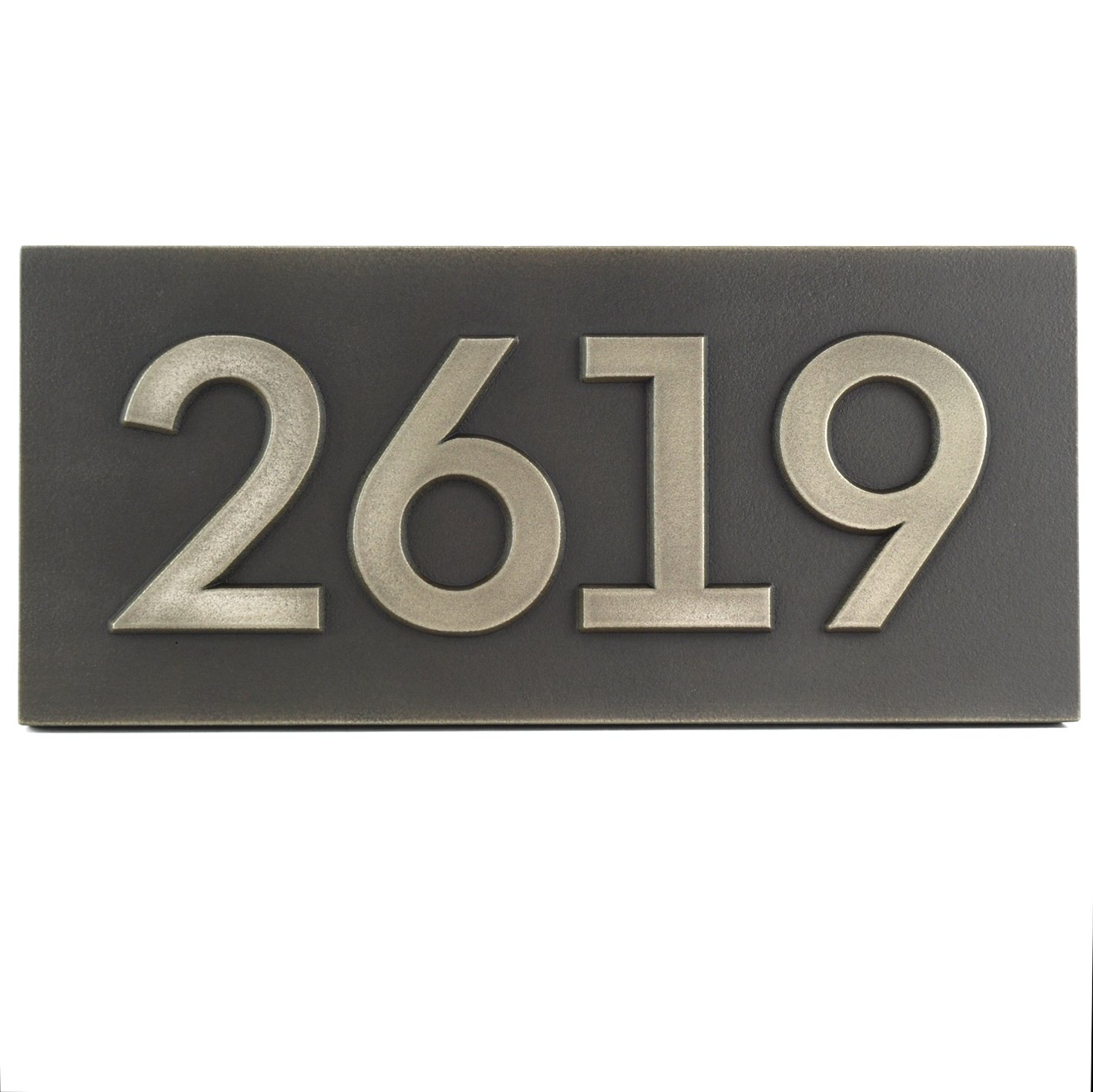 Custom Bold Classy Modern Font Address Plaque - 15.5 x 7 - Raised Sign is Stainless Steel Metal Coated