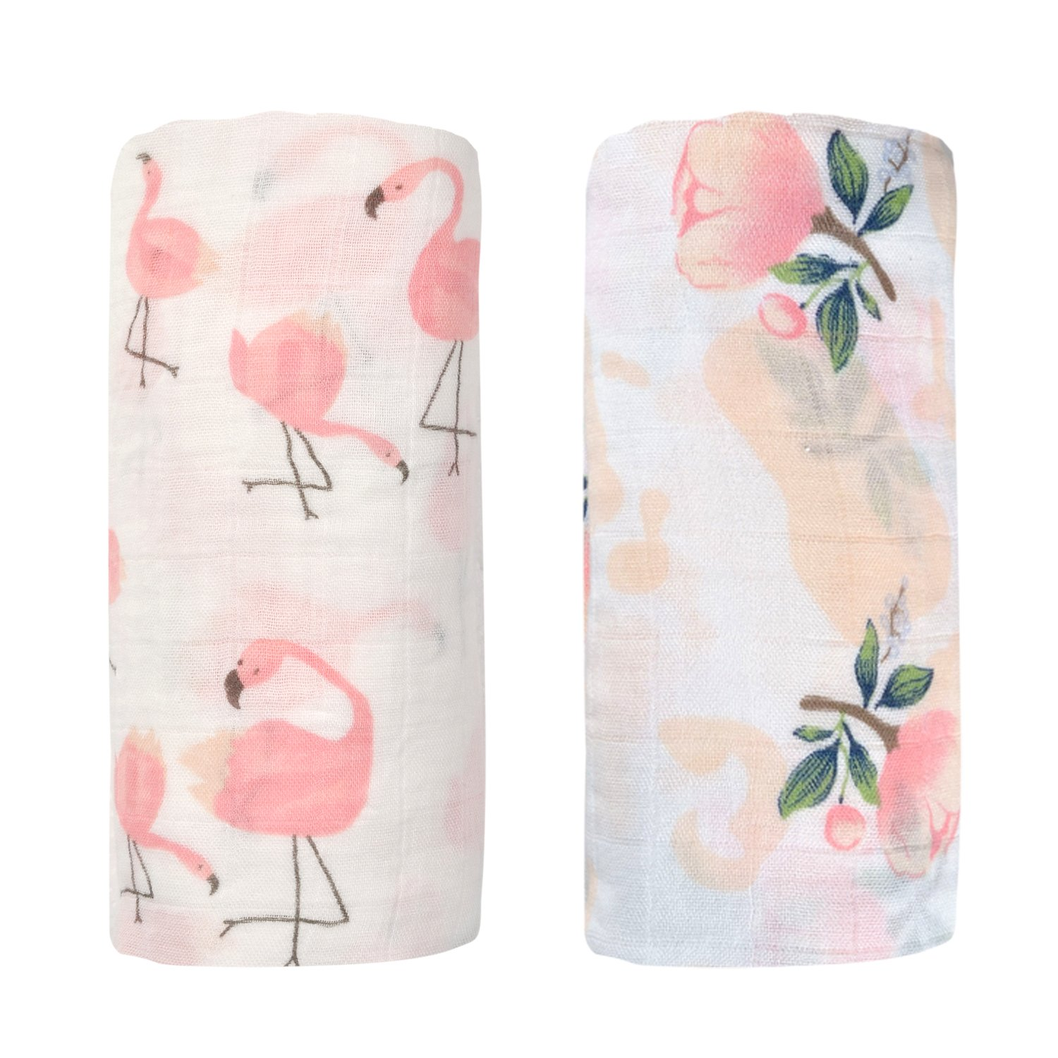 Final Home 2 Pack Bamboo Muslin Swaddle Blanket, Infant Receiving Swaddle Wrap for Shower Gift (Flamingo & Floral)